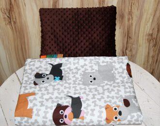 Komplet Koc kołderka Minky + poduszka Pieski