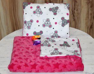 """Komplet Koc kołderka Minky + poduszka """"Myszki różowe"""""""